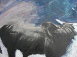 Brama bull with stormy sky