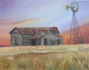 old barn, windmill, sunset