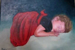 little girl napping in party dress